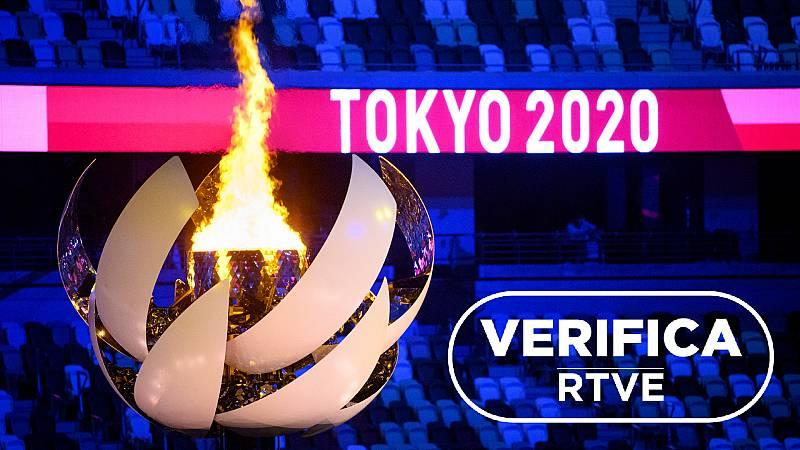 Imagen de la apertura de los Juegos Olímpicos de Tokio 2020 con el sello Verifica RTVE
