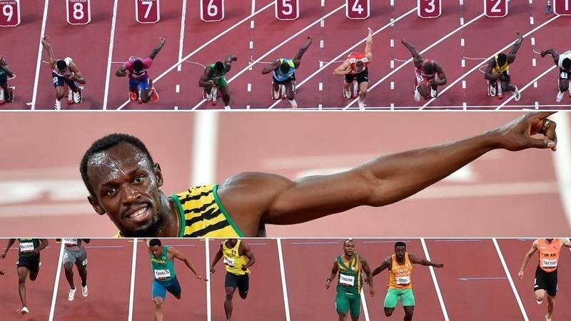 Fotomontaje de los 100m lisos en Tokyo 2020 junto a Usain Bolt.