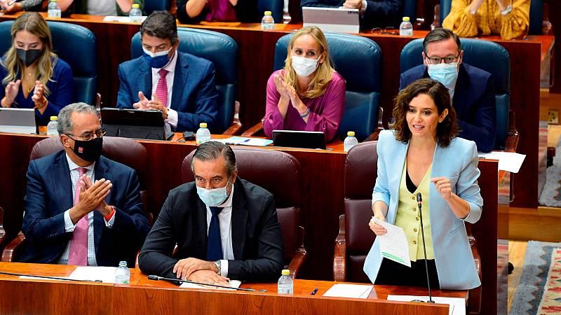 La presidenta de la Comunidad de Madrid Isabel Díaz Ayuso, durante el primer pleno de la Asamblea