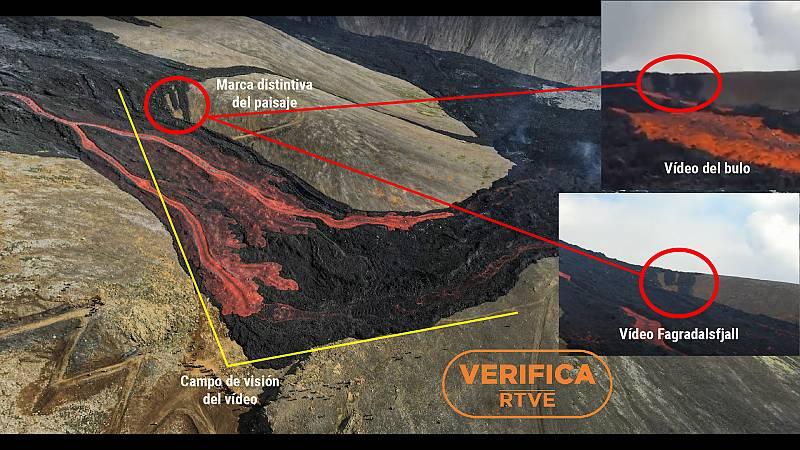 Lugar desde el que se filmó el vídeo, con el campo de visión y el lugar de la mencionada marca distintiva del paisaje.