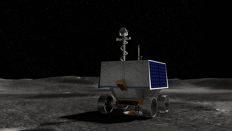 Esta ilustración del folleto cortesía de la NASA muestra el Rover de exploración polar de investigación de volátiles (VIPER) de la NASA en la superficie de la Luna.
