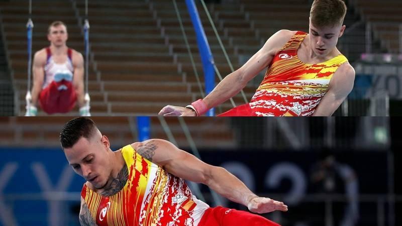 Imagen de los gimnastas españoles Joel Plata y Nestor Abad.