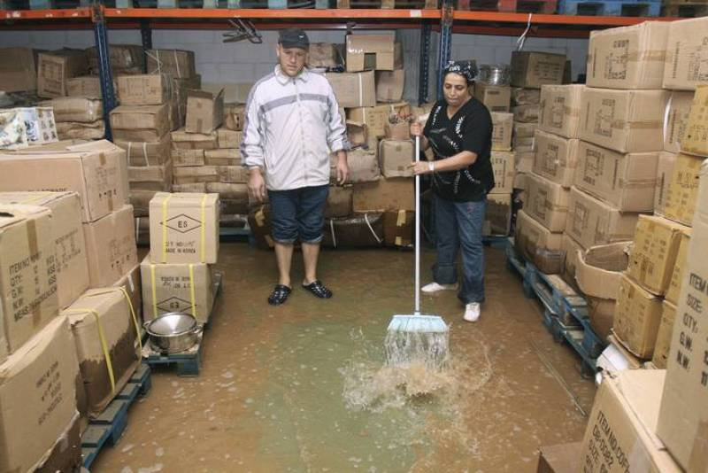 Almacén inundado en Ceuta