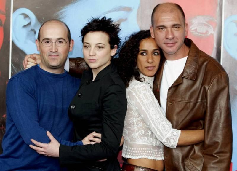 CAST MEMBERS OF ALMODOVAR'S NEW FILM POSE IN MADRID.