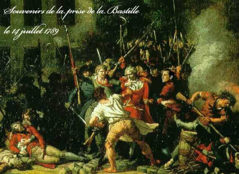El presidente francés no podía faltar al acontecimiento histórico más importante de la historia contemporánea francesa: la toma de la Bastilla. En este cuadro se aprecia su presencia.