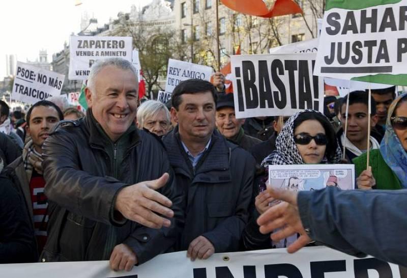 El coordinador general de Izquierda Unida, Cayo Lara, en la cabeza de la manifestación