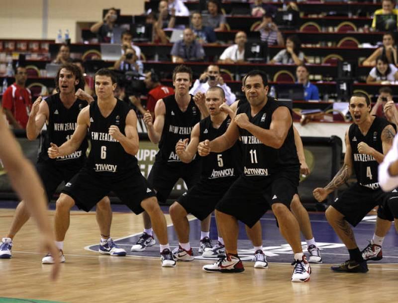 "New Zealand team performs ""haka"" before their FIBA Basketball World Championship game against Spain in Izmir"