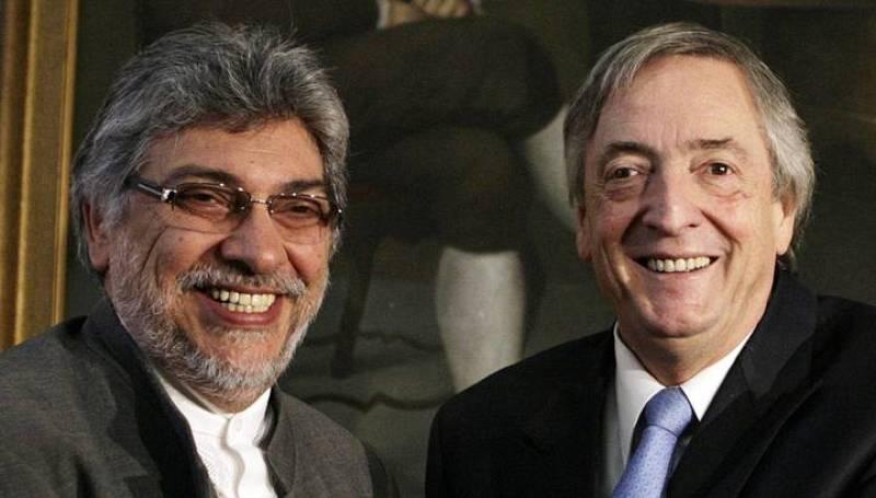 Néstor Kirchner junto al presidente de Paraguay, Fernando Lugo, este pasado 2 de junio