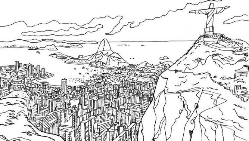 Vista de Río de Janeiro con el Cristo Redentor en primer plano