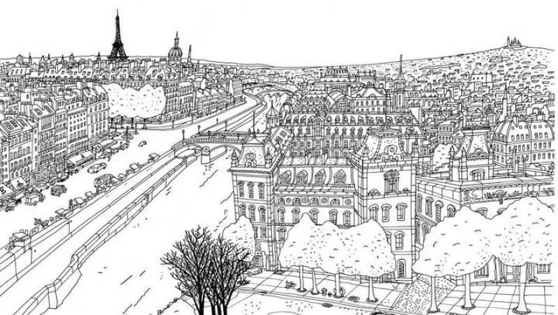 Boceto de la vista panorámica de París con el Sena en primer plano