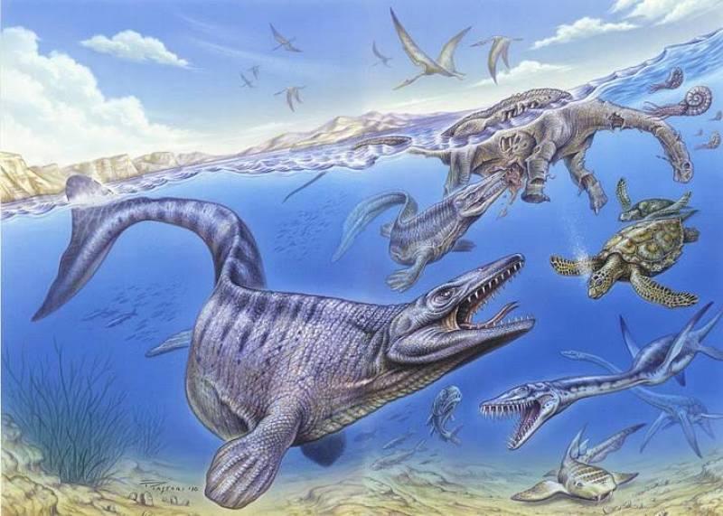 Una recreación del festín que se pudieron dar los animales marinos con el cadáver del dinosaurio