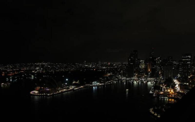 A view of the Sydney city skyline during Earth Hour