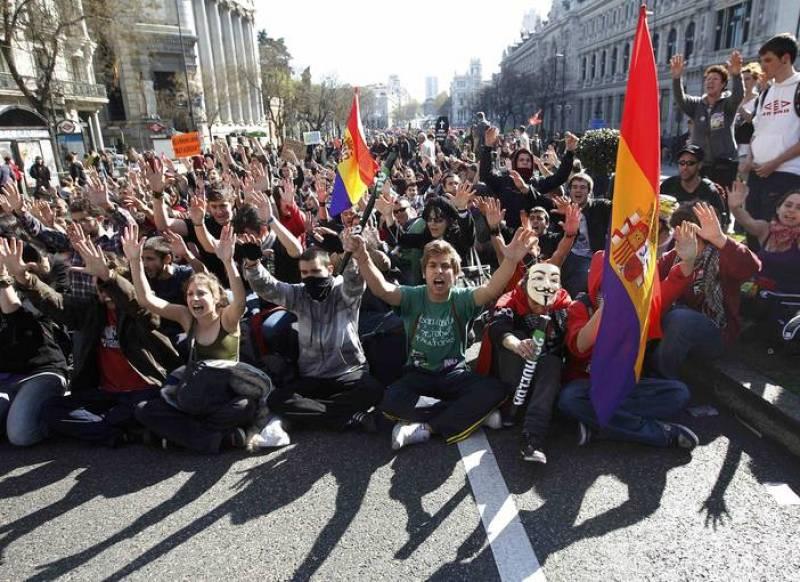 Un grupo de manifestantes durante la manifestación de Madrid