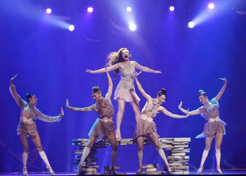 """Ivi Adamou of Cyprus performs her song """"La La Love"""" during the Grand Final of the Eurovision song contest in Baku"""