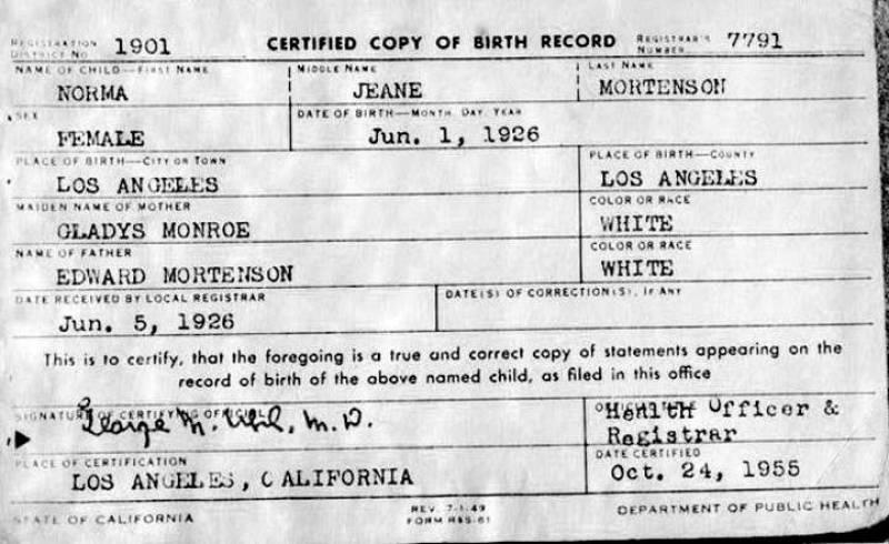 Certificado de nacimiento de Marilyn Monroe.