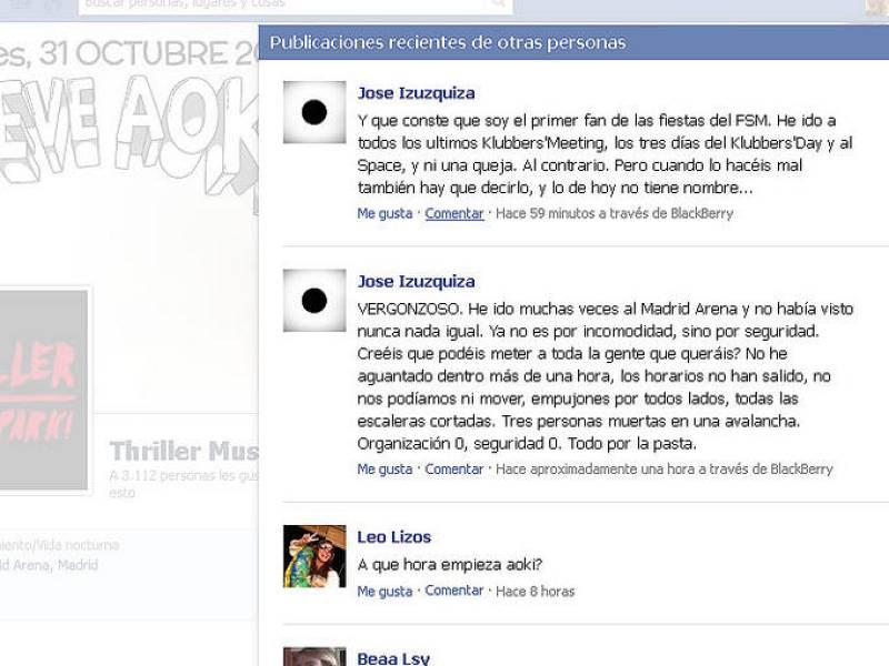 Quejas en Facebook por el exceso de aforo en la fiesta del Madrid Arena