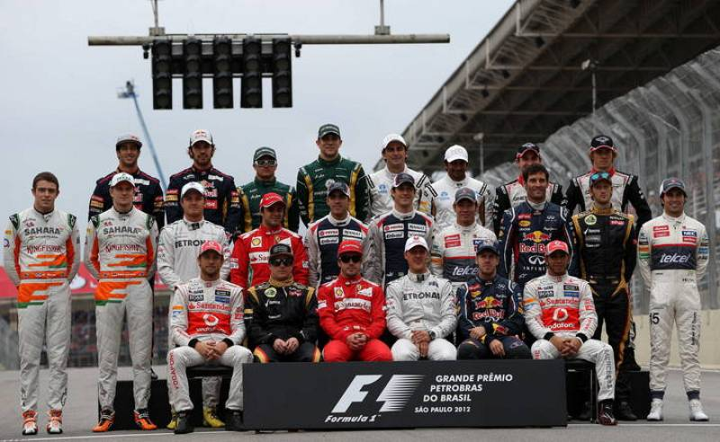 Fotografía oficial de los pilotos antes del GP de Brasil