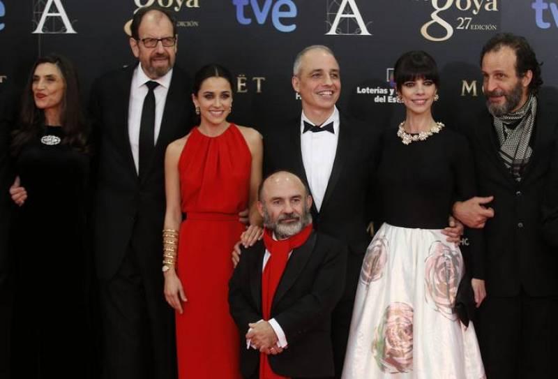 Pablo Berger, Maribel Verdú, Macarena García y el resto de la expedición de 'Blancanieves', la gran triunfadora de esta edición de los Goya con diez 'cabezones'.