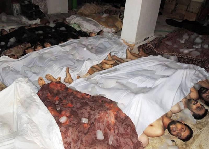 Una de las morgues improvisadas tras al supuesto ataque con gas sarín, proporcionada por el opositor Comité Local de Arbeen