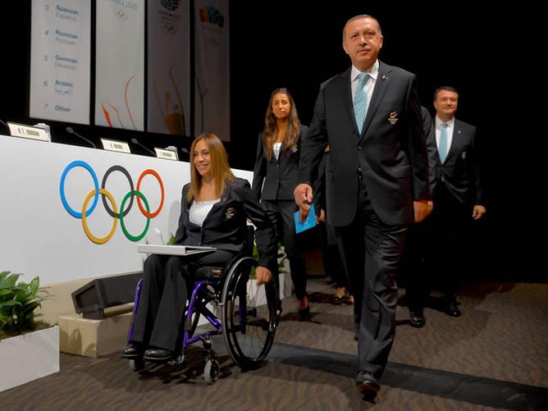 El primer ministro turco, Recep Tayyip Erdogan, encabezando la delegación de la candidatura de Estambul 2020, que se presenta por quinta vez consecutiva.
