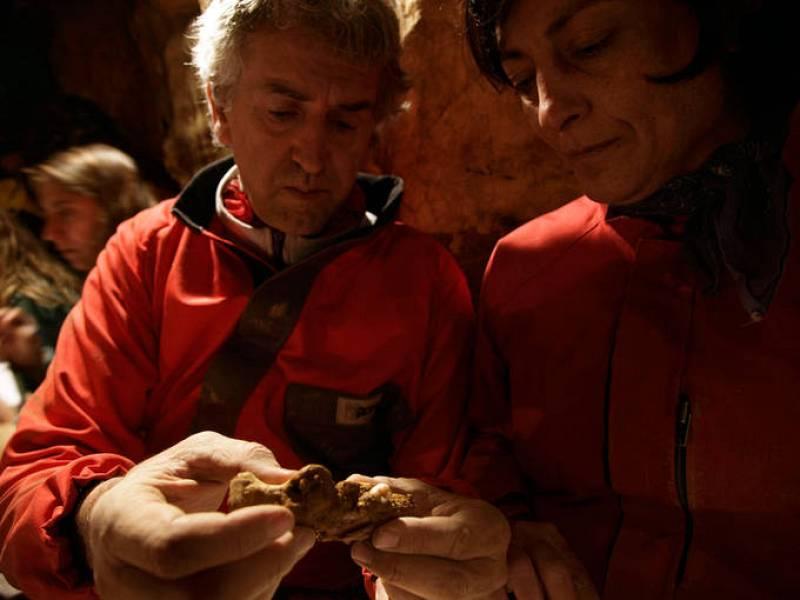 Juan Luis Arsuaga observando uno de los fósiles hallados.