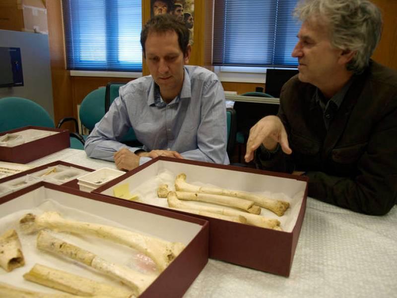 Matthias Meyer y Juan Luis Arsuaga comentando las características únicas de los fósiles de diferentes homininos de la Sima de los Huesos.