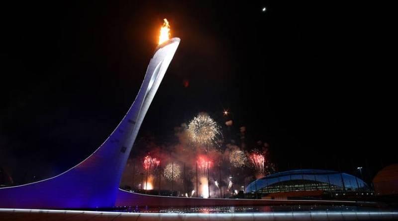 La llama olímpica, iluminando por fin el cielo de Sochi.