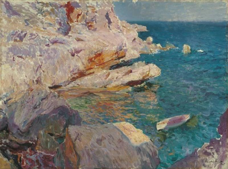 Joaquín Sorolla. Rocas de Jávea y el bote blanco (1905)