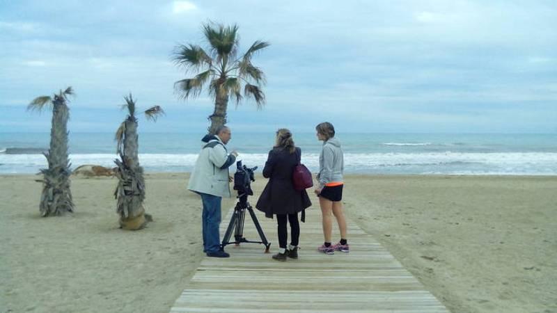 Rodando con la judoka Leire Iglesias en la playa de San Juan en Alicante