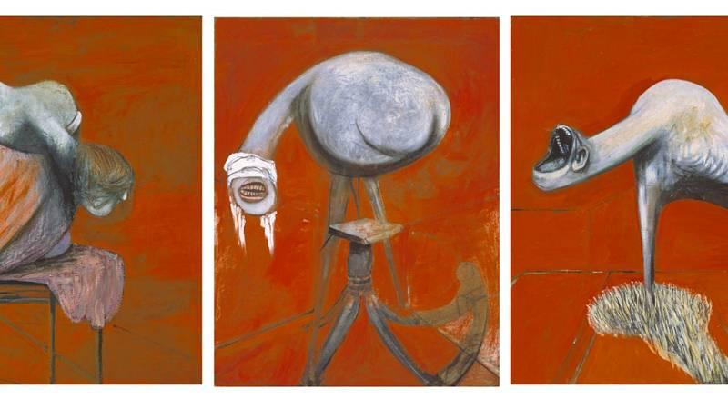 Imagen de la obra 'Three studies for figures at the base of a crucifixion' (1944) de Francis Bacon