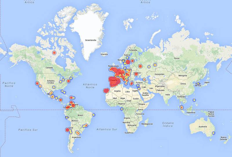 Las menciones a Barei en Twitter, en el mapa