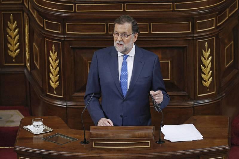 Mariano Rajoy durante su intervención esta tarde en el Congreso de los Diputados en la primera jornada de investidura al que se somete