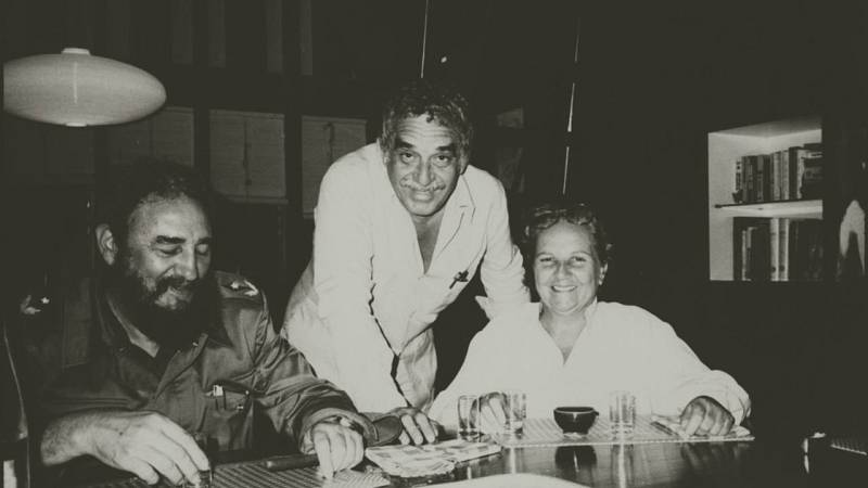 Carmen Balcells, junto a Fidel Castro y Gabriel García Márquez