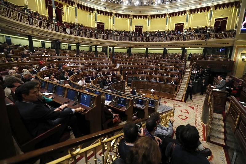 El portavoz del PSOE en el Congreso, Antonio Hernando, durante su intervención.
