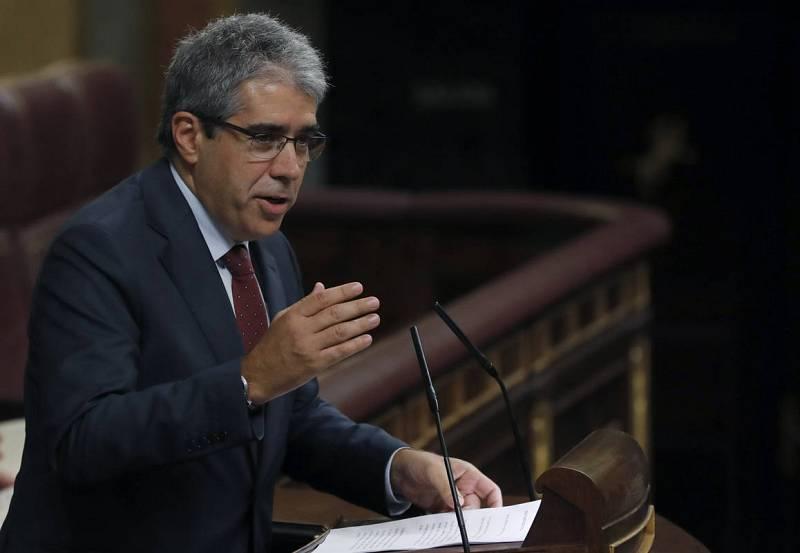 El portavoz del Partit Demòcrata Europeu Català (PDECat), Francesc Homs, durante su intervención en la sesión de la tarde.