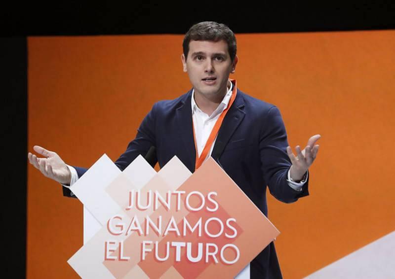 El líder de Ciudadanos, Albert Rivera, exponiendo su informe de gestión