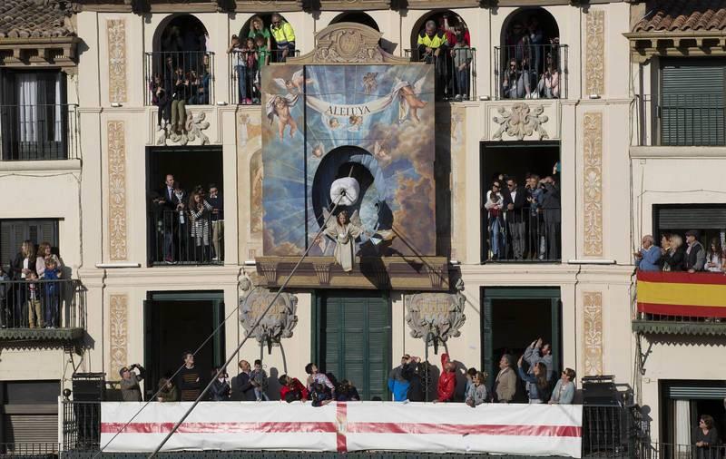Imagen de la representación de la aparición del Arcángel San Gabriel a María, interpretado este año por la niña Ariadne Asín Jacué