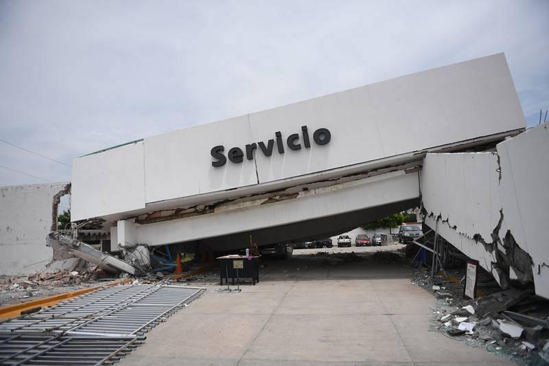 Una estructura dañada en la localidad de Juchitán de Zaragoza, en Oaxaca