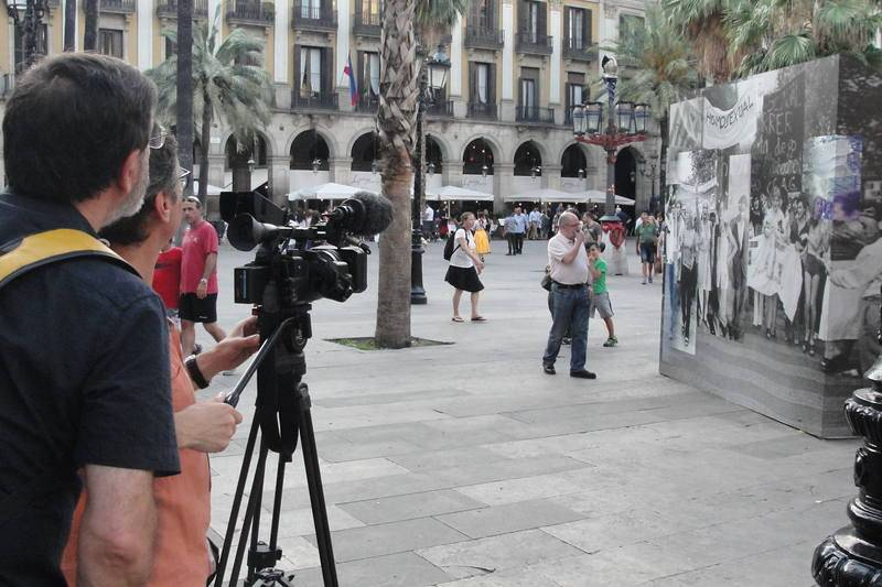 Con Jordi Petit en la plaza Real de Barcelona