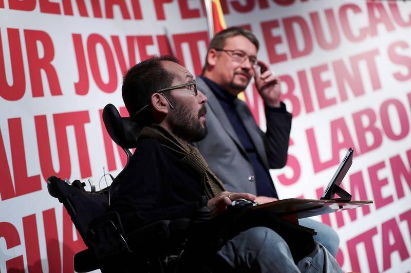 Acto de campaña de Catalunya en Comú-Podem (CatECP) en Terrassa (Barcelona)