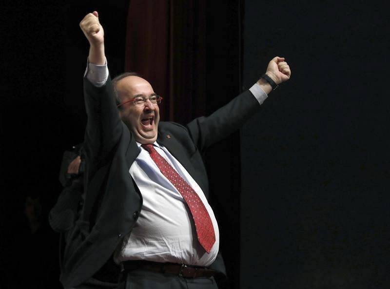 Miquel Iceta, tras su intervención en un mitin del PSC en Lleida, en la sexta jornada de campaña para las elecciones del 21D