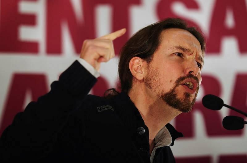 El secretario general de Podemos, Pablo Iglesias, interviene en un mitin en Tarragona junto al cabeza de lista de Catalunya En Comú-Podem, Xavier Domènech.