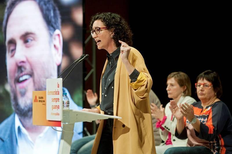La secretaria general de Esquerra Republicana, Marta Rovira, durante su intervención en el acto electoral que los republicanos han celebrado esta tarde en Girona.