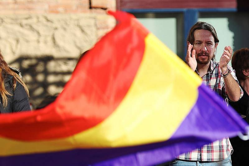 El secretario general de Podemos, Pablo Iglesias durante el acto central de campaña en Barcelona, de Catalunya En Comú-Podem.