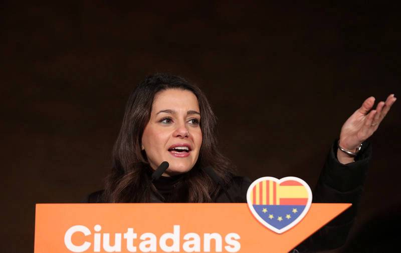 Ines Arrimadas, leader of Ciudadanos in Catalonia addresses the Catalan Ciudadanos campaign closing rally ahead of local elections in Barcelona
