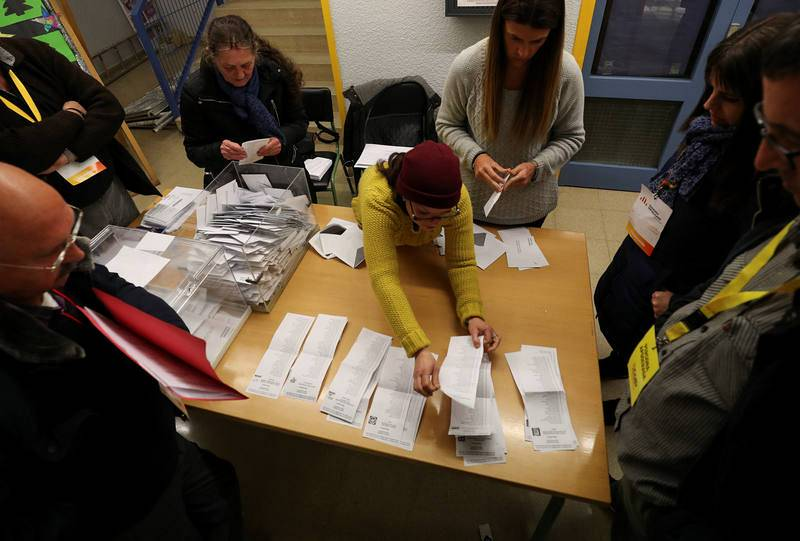 Electoral workers begin to count ballots after polls closed in Catalonia's regional elections at a polling station in Barcelona