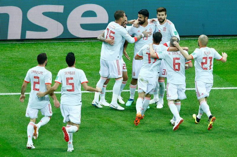 Celebración del gol de Costa