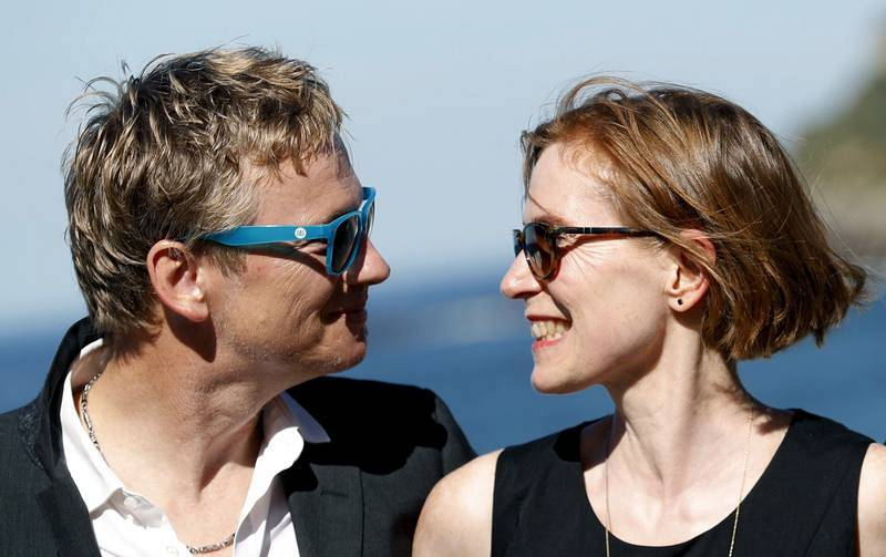 Los actores Thomas Schüpbach y Judith Hofmann posan durante la presentación de su película 'The innocent' en San Sebastián