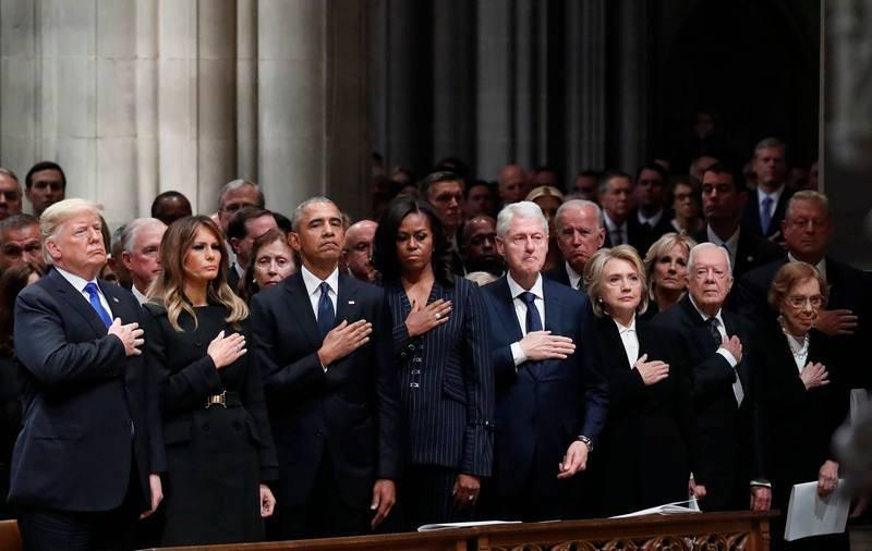 Los expresidentes de EE.UU. homenajean a George Bush padre