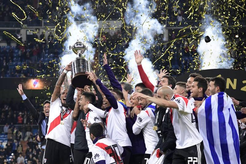 Los jugadores de River celebran la victoria ante Boca.